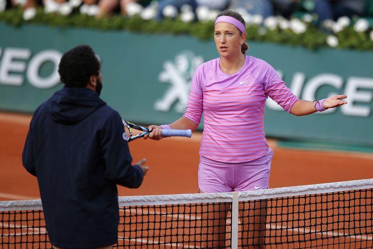 Victoria Azarenka tijdens het duel met Williams Beeld ap