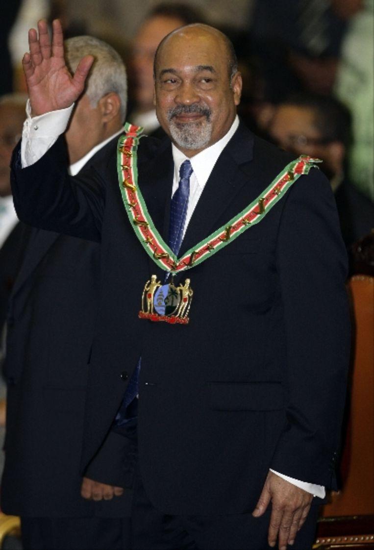 President Desi Bouterse na zijn beëdiging. (AP) Beeld AP