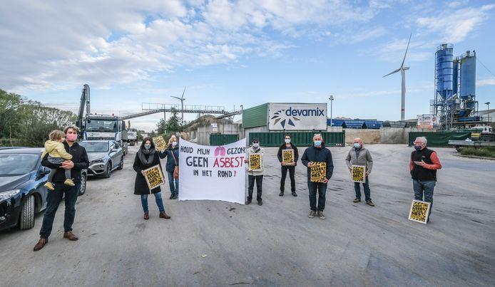 Een archiefbeeld van het protest tegen het bedrijf.