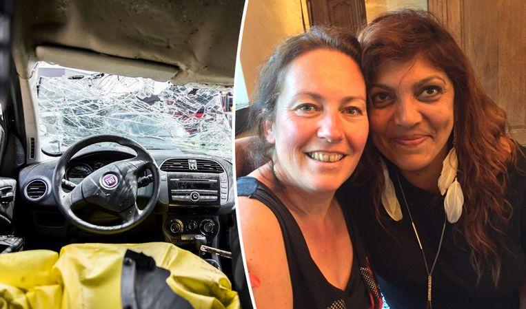 """Corine (rechts) met de vrouw die haar na zes dagen vond in het wrak van haar wagen: """"Ze is mijn engelbewaarder."""""""