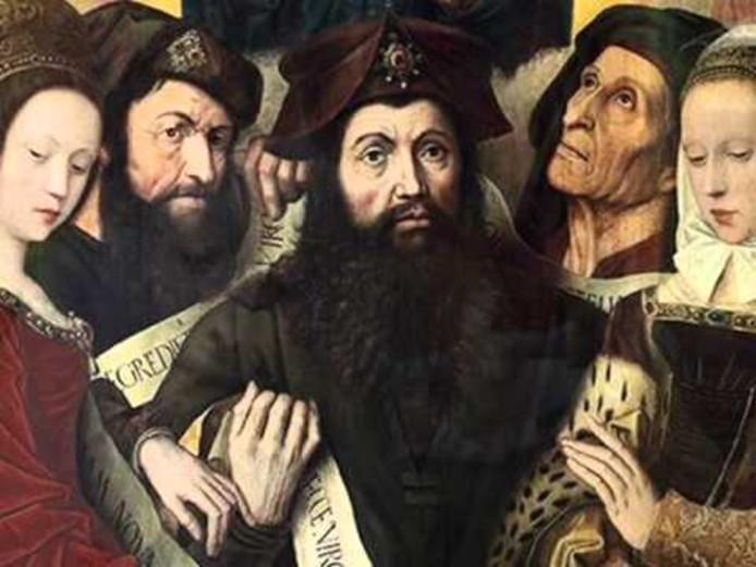 Lupus Hellinck (midden), rederijker uit Axel, die leefde van 1493/1494 tot 1541.