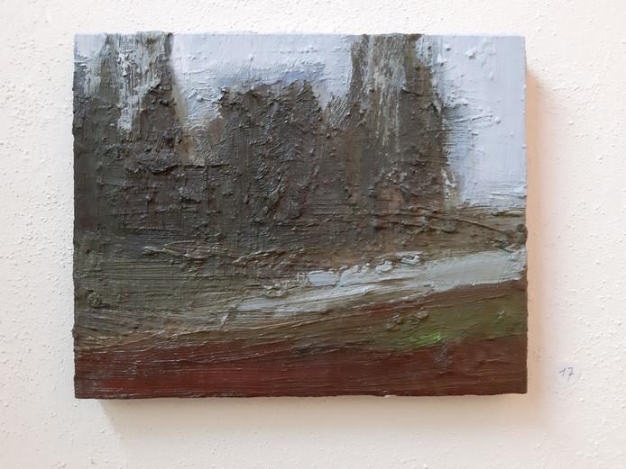 Doek 'Zonder titel' (30 x 24 cm.) van Moerman.
