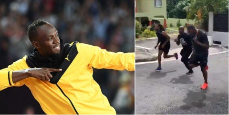 Links: Usain Bolt met zijn bekende move, rechts: aan het trainen.
