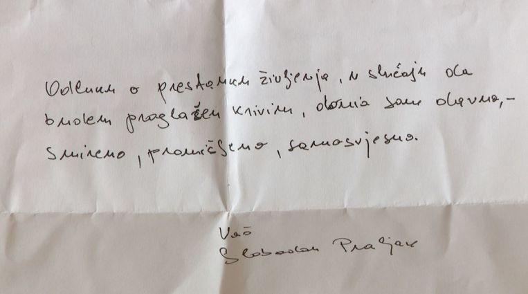 De afscheidsbrief aan zijn familie ('Ik heb deze beslissing al een tijd geleden genomen'). Beeld