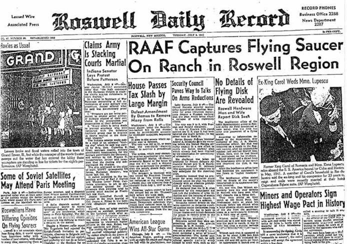 Krant in Roswell die in 1947 het nieuws van de neergestorte schotel bracht.