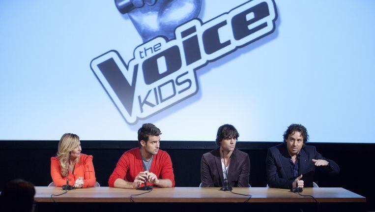 De jury van The Voice Kids (vlnr) Angela Groothuizen, Nick & Simon en Marco Borsato Beeld ANP Kippa