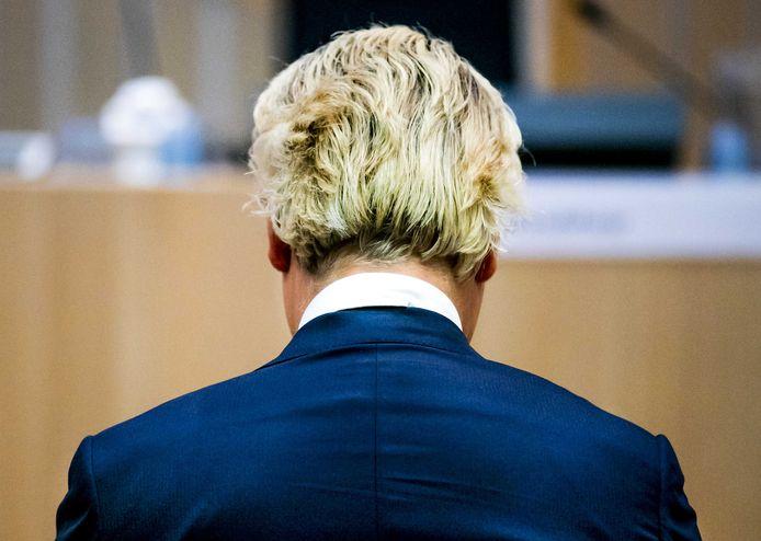 Geert Wilders in de rechtbank van het Justitieel Complex Schiphol.