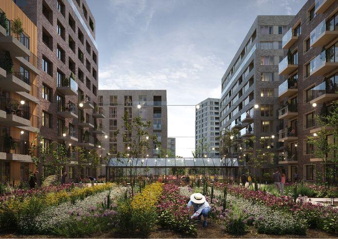 Bewoners van de 720 woningen kunnen straks terecht in de binnentuin.