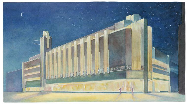 Impressie van Bijenkorf bij nacht in Den Haag van architect J.F. Staal. 1923.  Beeld Collectie Het Nieuwe Instituut