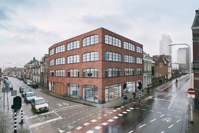 De nieuwbouw op de hoek van de Lange Nieuwstraat.