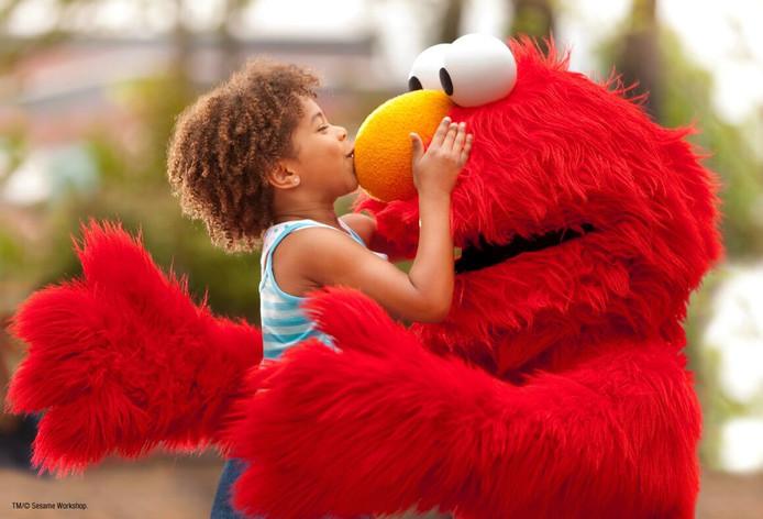 Het populaire personage Elmo is uiteraard te vinden in Sesame Place.