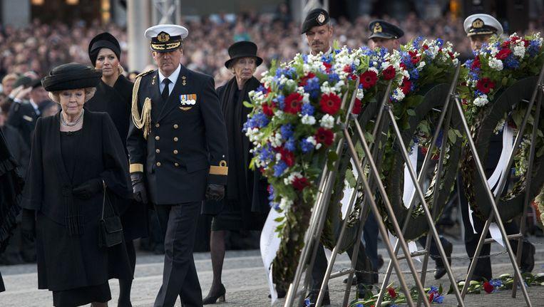 Koningin Beatrix, prins Willem-Alexander en prinses Maxima tijdens de Nationale dodenherdenking op de Dam vorig jaar. Beeld ANP