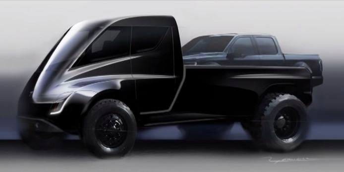 In 2017 dook al deze digitale render op van de Tesla pick-up, maar sindsdien heeft het bedrijf het model bijzonder goed weten af te schermen.