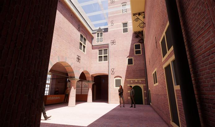 Impressie van de 'nieuwe' binnenplaats van Kasteel Wijchen, mét glazen dak.