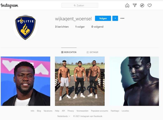Een nep-account, zogenaamd van wijkagent Woensel. De politie wordt steeds actiever op verschillende social media-platforms, maar krijgt daardoor ook vaker te maken met mensen die nep-profielen aanmaken met het politielogo of foto's van wijkagenten.