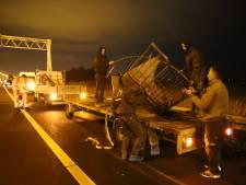 Stalen wenteltrap beschadigt voertuigen op snelweg A4