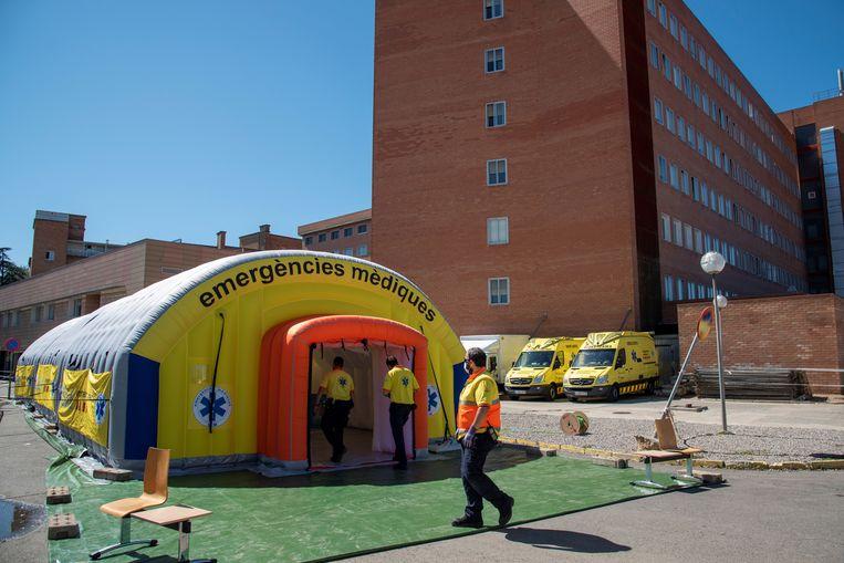 Een veldhospitaal in Lleida.