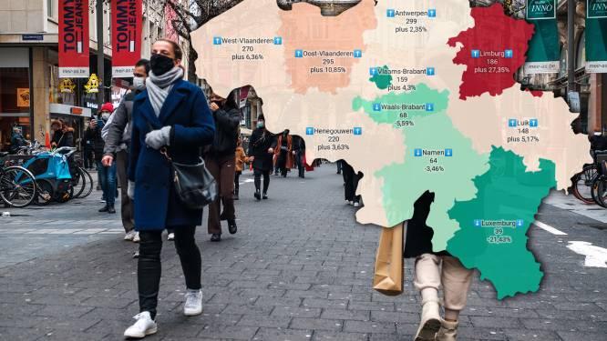 IN KAART. Besmettingen stijgen in alle Vlaamse provincies, in Limburg zelfs met meer dan een kwart. Bekijk hier de situatie in uw regio