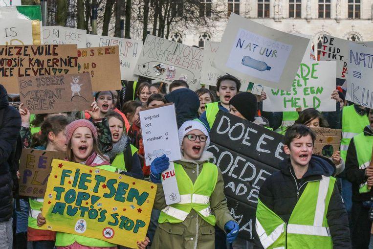 Een beeld van de tweede klimaatmars, op donderdag 7 februari.