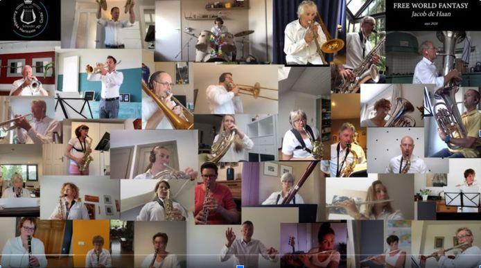 Foto's van het online 'thuisconcert' van de harmonie in Schijndel eerder dit jaar, noodgedwongen vanwege de coronaregels.