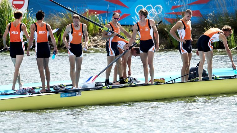 De Holland Acht, hier in de samenstelling van de Olympische Spelen van 2012, bereikte via de herkansing de finale Beeld anp