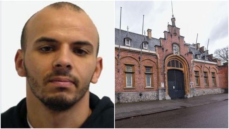 Rechts gevangenis van Turnhout waar Oualid Sekkaki (26, foto links) en vier andere gedetineerden ontsnapten na de wandeling.