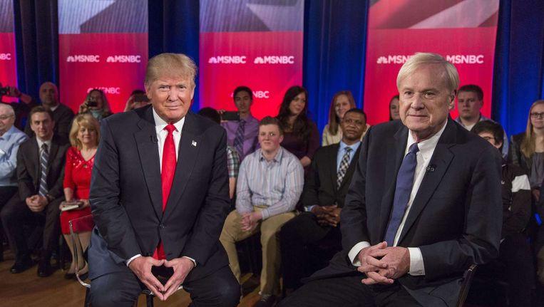 Trump met Chris Matthews op de nieuwszender MSNBC. Beeld afp