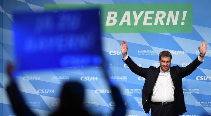 De Beierse premier Markus Söder op een verkiezingsbijeenkomst in München.