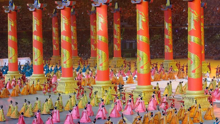 Openingsceremonie in Peking. Beeld ap