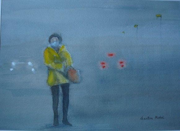 Een van de tentoongestelde schilderijen, een werk van Michel Ganton.