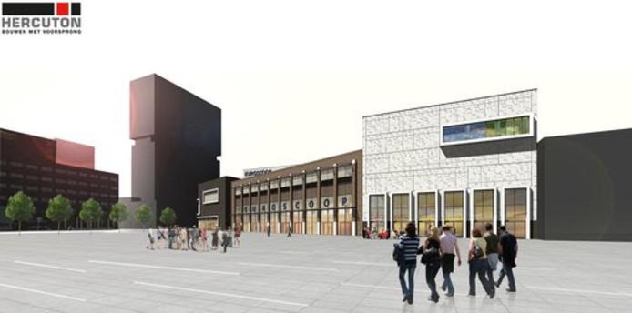 Een impressie van het bioscoopcomplex dat Hercuton voor Euroscoop gaat bouwen in Amsterdam.