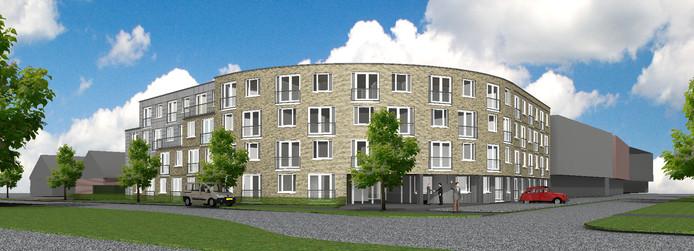 Zo moet het nieuwe woonzorggebouw van Omnia en Zorggroep Noordwest-Veluwe aan de Boerhaavelaan (rechts) er uit gaan zien.