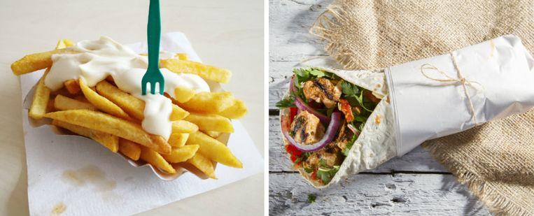 Snacken? Kies dan liever voor durum (rechts), in plaats van het klassieke pak friet.