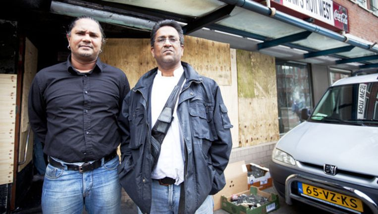 De gebroeders Sanjai (L) & Mukerjiet Jairam, de eigenaren van Ram's Roti. Foto Marc Driessen Beeld