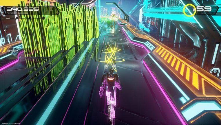 Beeld uit het spel TRON Run/r. Beeld