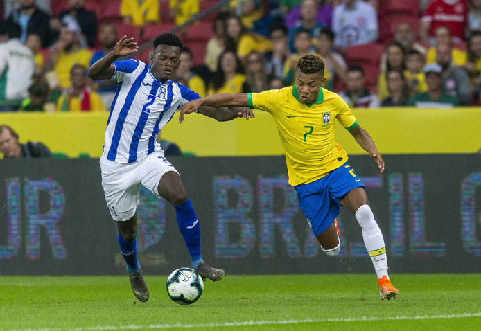 David Neres in actie tijdens het oefenduel tegen Honduras op 9 juni. Neres kwam één keer tot scoren, in het duel dat in 7-0 eindigde.