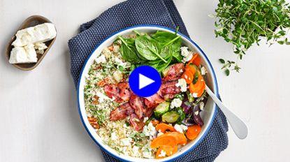 Van deze snelle wintersalade met couscous en geroosterde groenten kikker je helemaal op