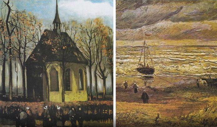 De gestolen schilderijen Het uitgaan van de Hervormde Kerk in Nuenen (1884-1885) en Zeegezicht bij Scheveningen (1882).