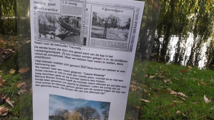 """Behoud Bomen Arnhem markeert de geschiedenis van treurwilg """"Laura Vctoria' bij de Lauwersgracht met een bordje met uitleg."""