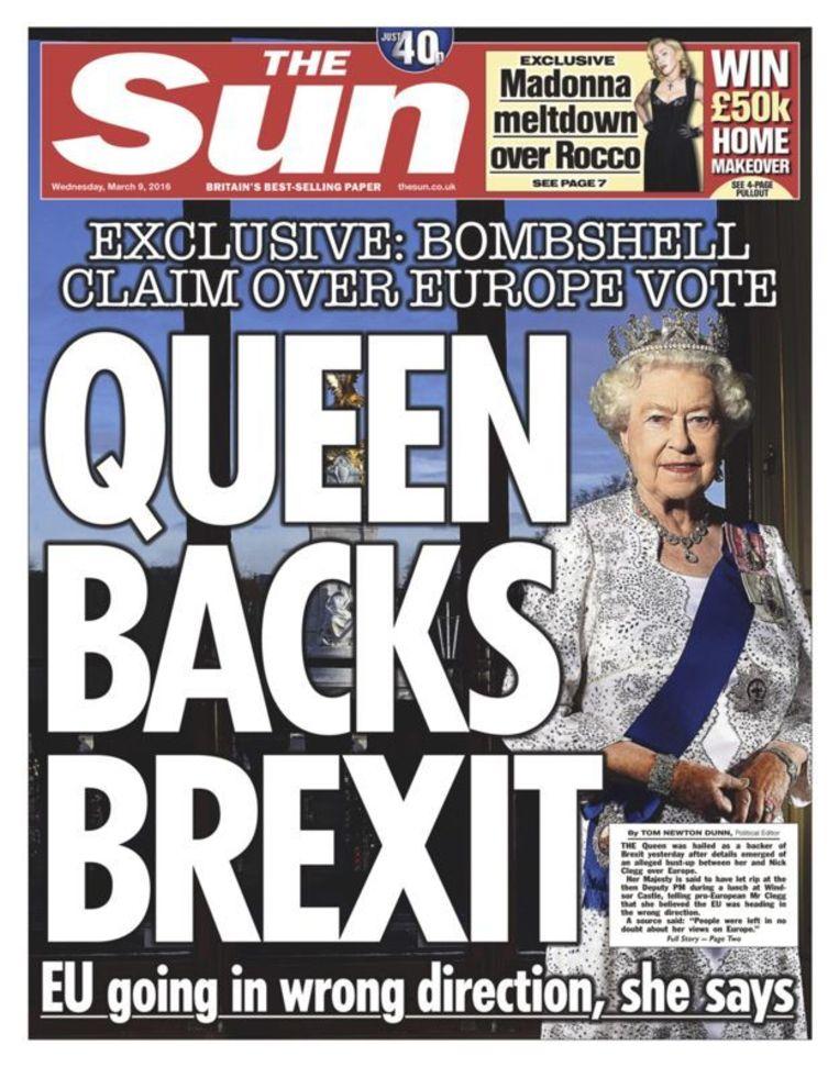 Hoewel The Sun met een spectaculaire voorpagina beweerde dat de monarch pro Brexit zou zijn, werd deze claim ontkend door het paleis en politici.