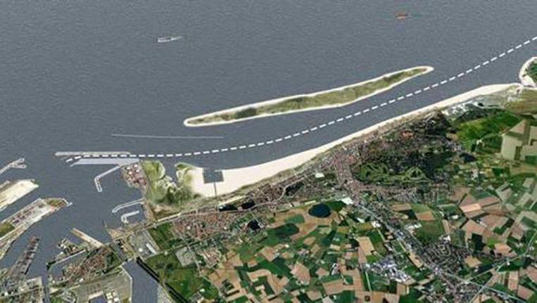 Het eiland zoals het voor de kust van Knokke-Heist zou komen.