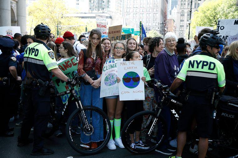 Demonstrerende jongeren vrijdag in New York.  Beeld WireImage