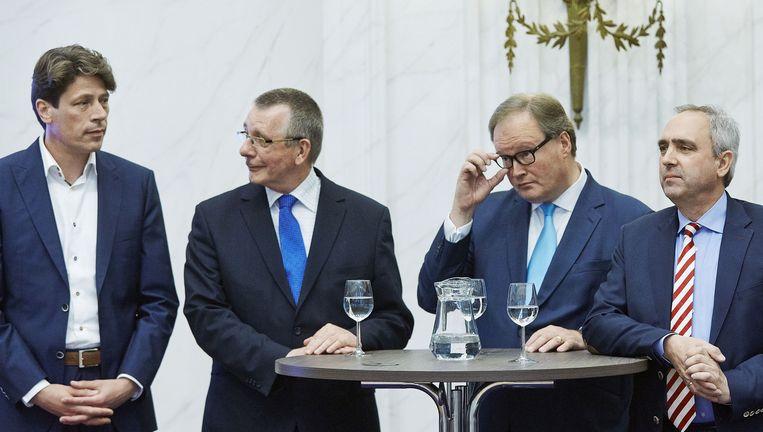 Lijsttrekkers voor de Europese verkiezingen: Paul Tang van de PvdA, Dennis de Jong van de SP, Hans van Baalen van de VVD en Peter van Dalen van ChristenUnie/SGP. Beeld anp