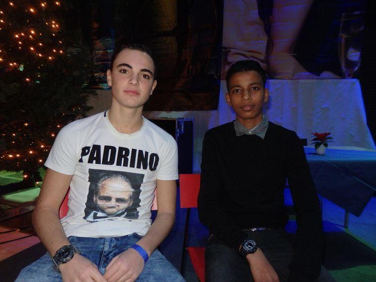 Ritchie Bromet (l) en Mohamed Hassan hebben één droom: samen de beste korfballers van Nederland worden. Maar vanavond zijn ze hier om te feesten Beeld Schuim