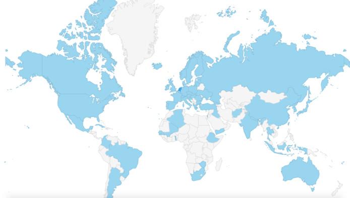 Een beeld waar de bezoekers van de DDW 2016 vandaan kwamen; het gaat om 72 landen waar online-tickets voor de 15e designweek zijn verkocht.