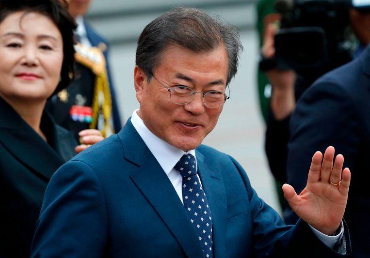 De Zuid-Koreaanse president Moon Jae-in tijdens zijn bezoek aan Moskou op 21 juni 2018.