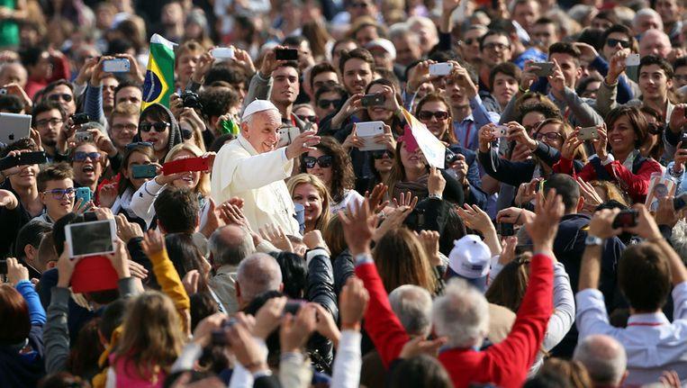 Paus Franciscus, woensdag in Rome. Beeld getty