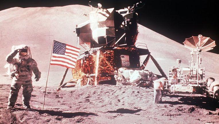 Neil Armstrong als eerste mens op de maan. Foto ANP Beeld