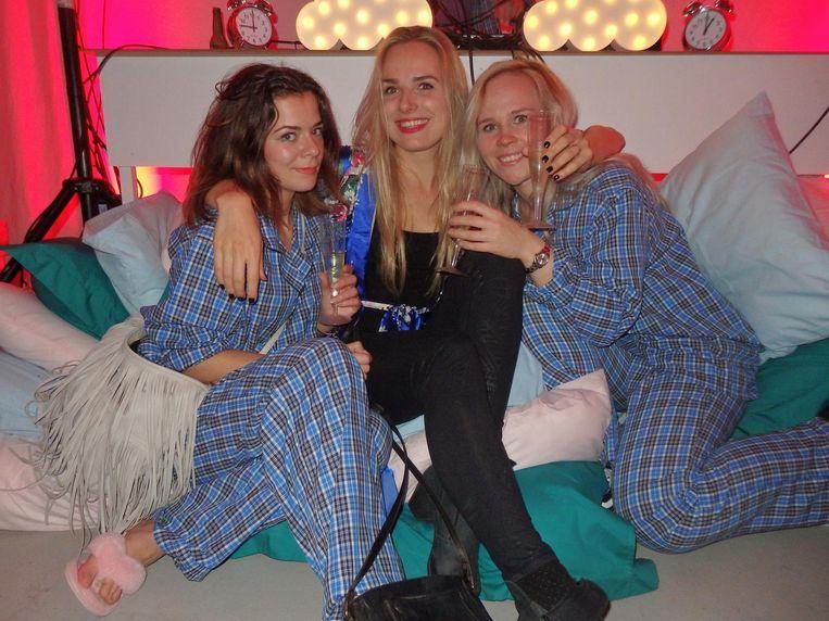 Sabrina Beek (Amsterdam Light Festival), Cathalijne Groen (TicketSwap) en Anne van Diepen (Mobgen). Beek: 'Ik was net nog aan het werk. En morgen weer!' Beeld Schuim