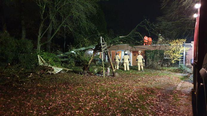 Aan de Scholtenhagenweg in Haaksbergen is zaterdagavond een boom op een woning gevallen.